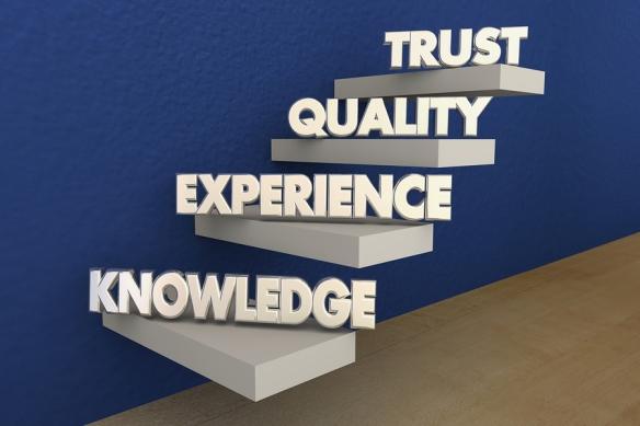 Knowledge Experience Quality Trust Reputation Steps 3d Illustrat