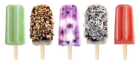 Variety of popsicles isolated on white